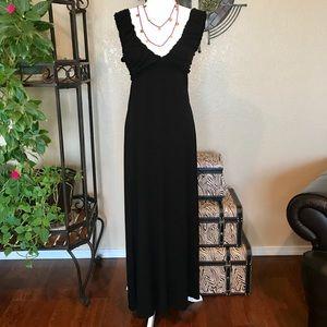 Max Studio Low Cut Black Maxi Dress Size S